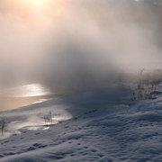 大町市 中綱湖畔の朝