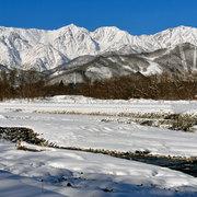 白馬三山と松川の冬