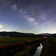 白馬村神城7月 姫川の蛍と銀河