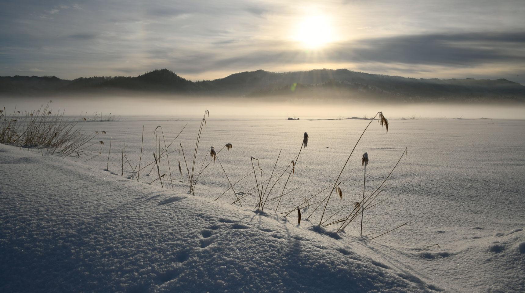 スライド139 厳冬の朝 白馬村神城