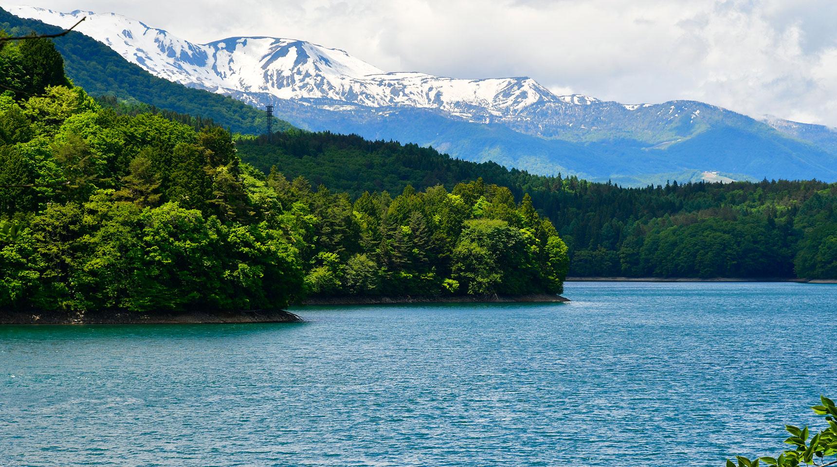 スライド157 新緑の青木湖と残雪